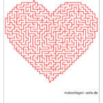 Heart maze template for advanced learners