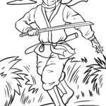 Coloring page ninja - people