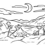 Coloring page oasis in the desert