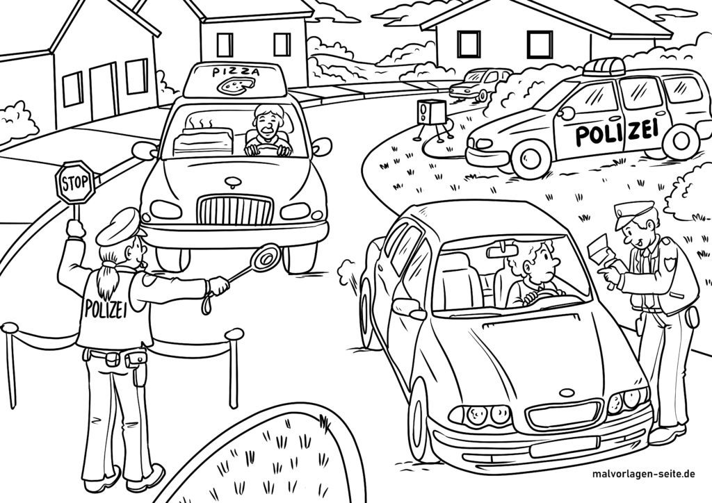 målarbild polis - gratis målarbok