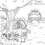 Coloriage accident de voiture de police