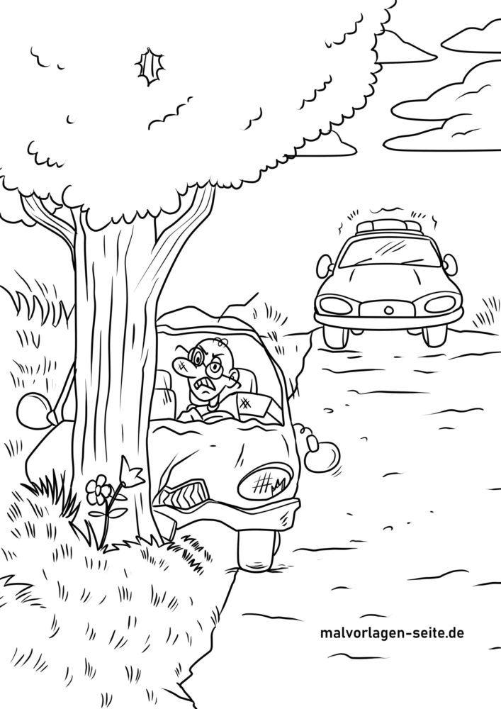 صفحه رنگ آمیزی تصادف رانندگی پلیس