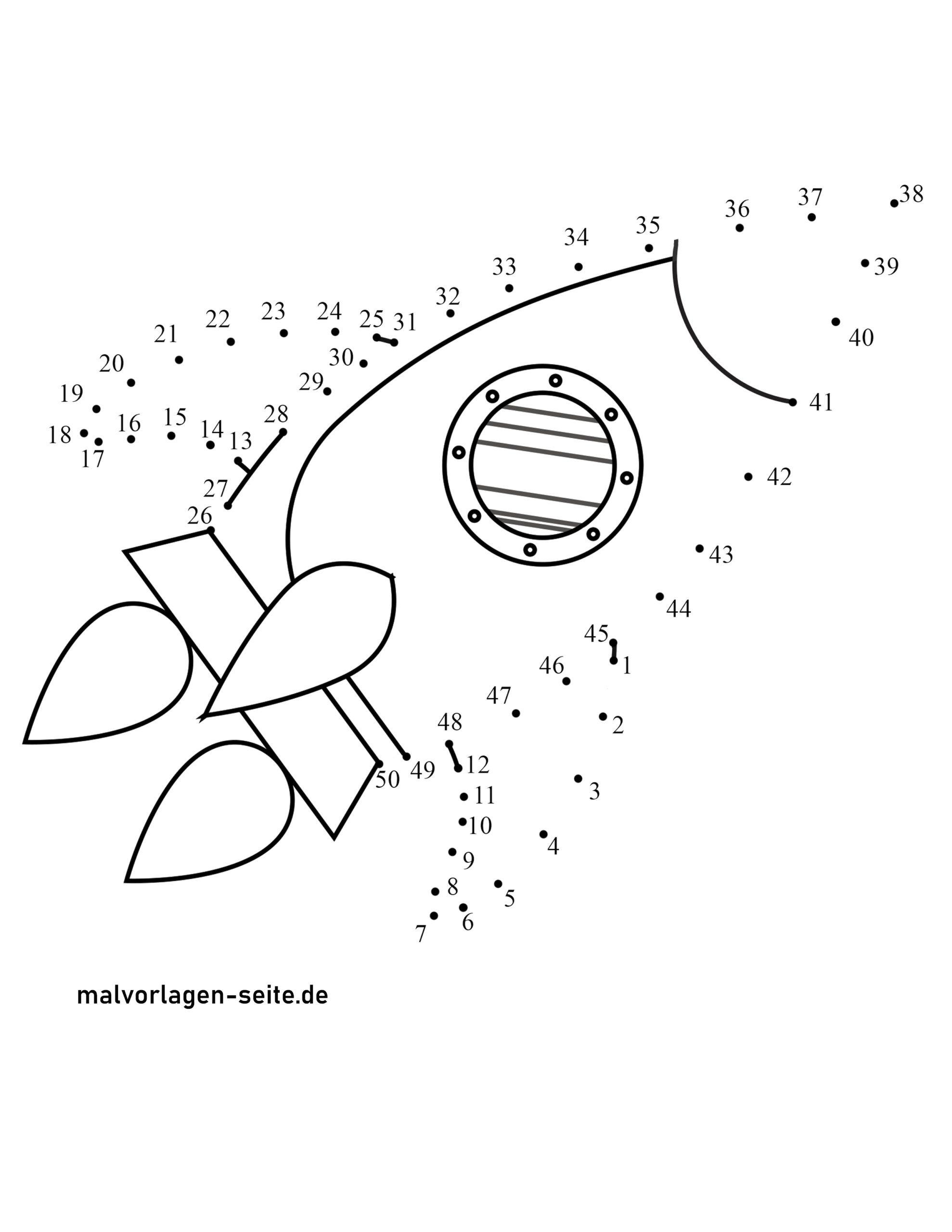 punkt zu punkt bild rakete  kostenlose ausmalbilder