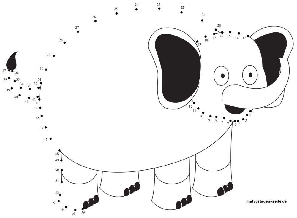 Punkt zu Punkt Zeichnung Elefant