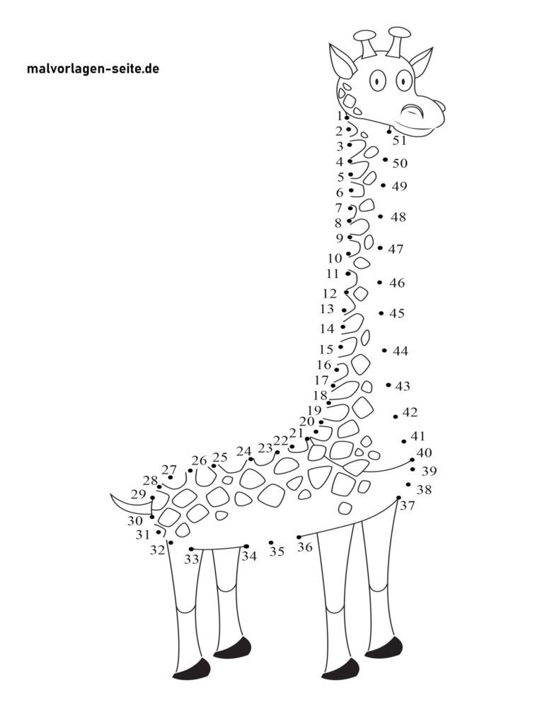 Point to point drawing of giraffe