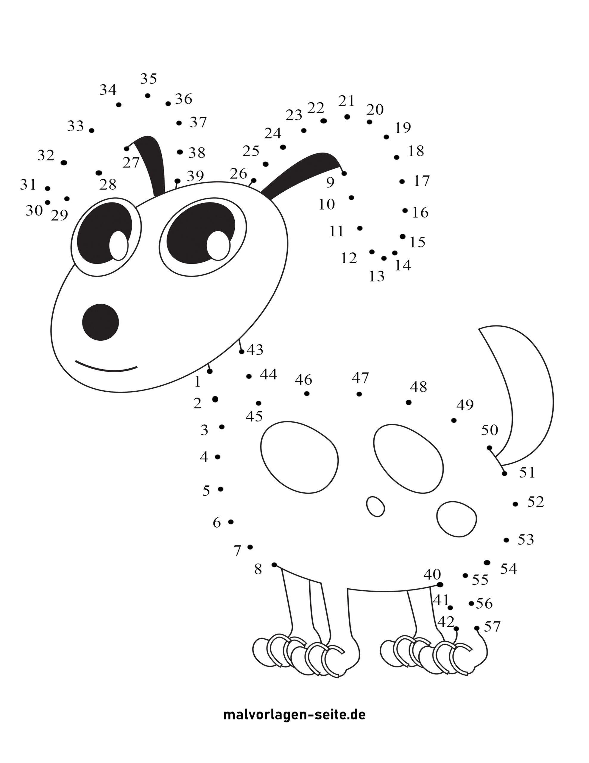 Punkt zu Punkt Zeichnung Hund