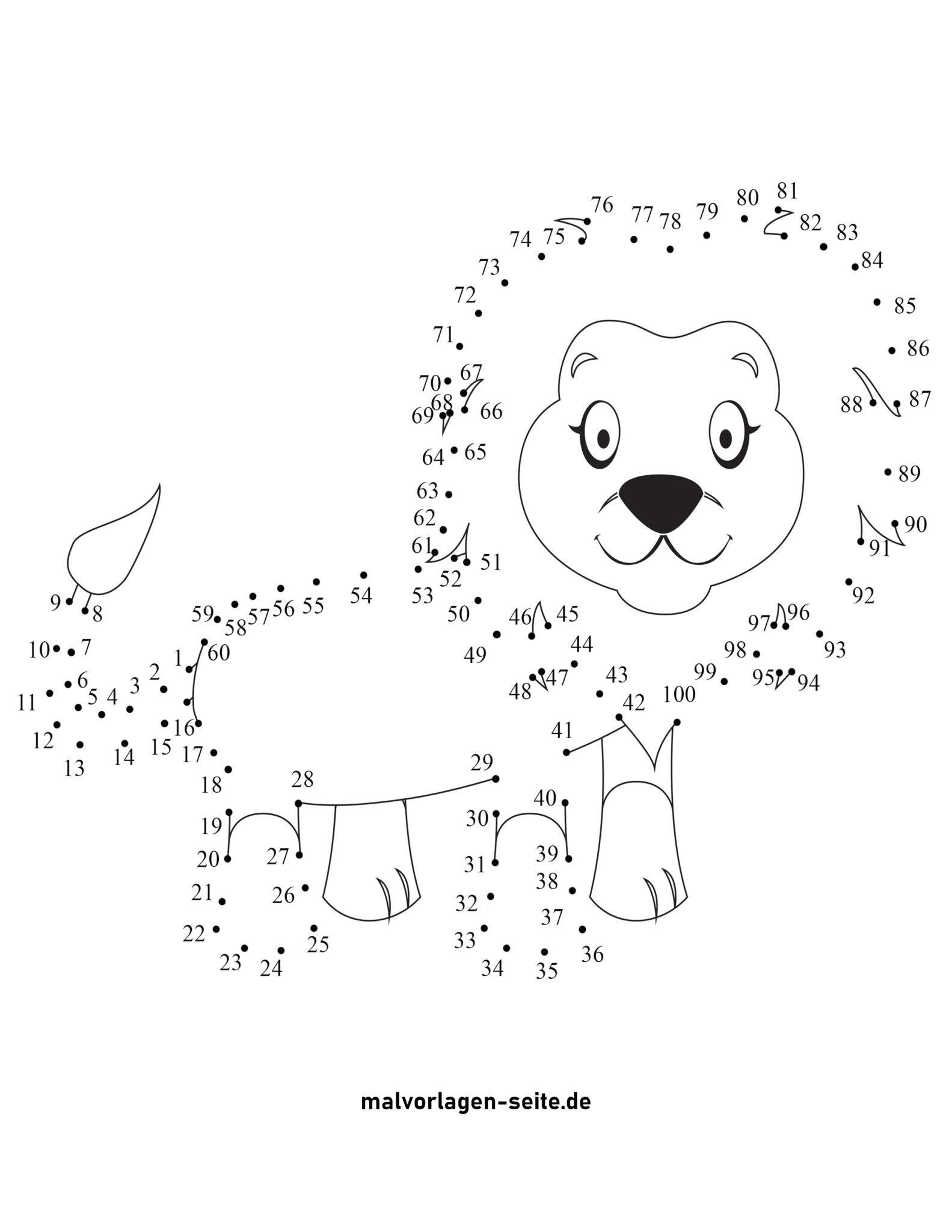 punkt zu punkt bild löwe  kostenlose ausmalbilder