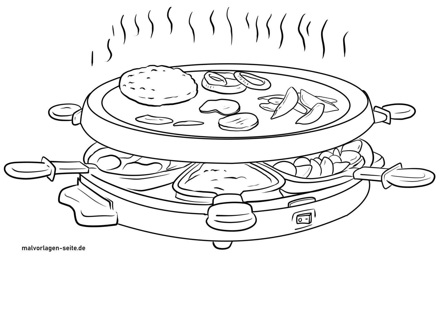 Tolle Malvorlage Raclette - Haushalt Essen - Kostenlose Ausmalbilder