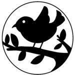 Papirskåret silhuet af fugl