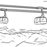 Coloring page cable car gondola - landscape