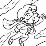 Tegninger til farvelægning iført superheltemaske - sundhed