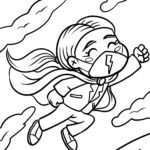Coloring page mask wearing super heroine - health
