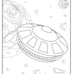 Coloring page spaceship space