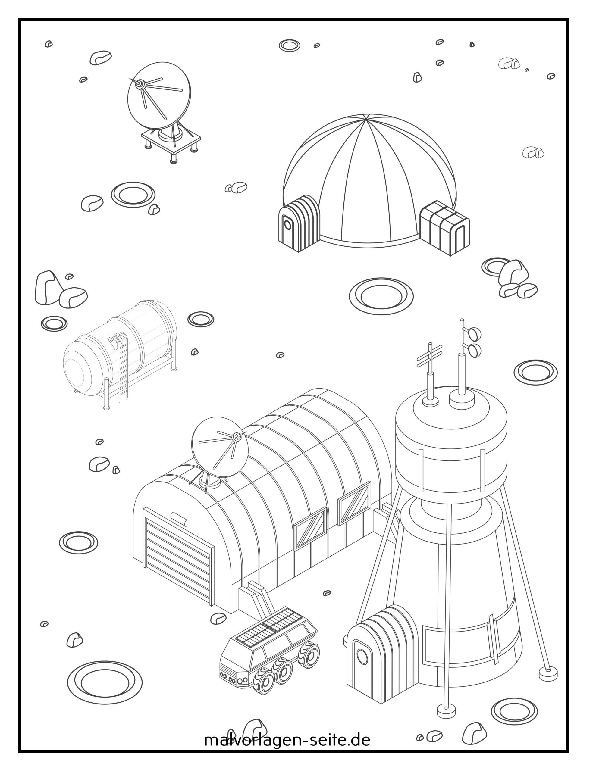 Coloring page colonization Mars