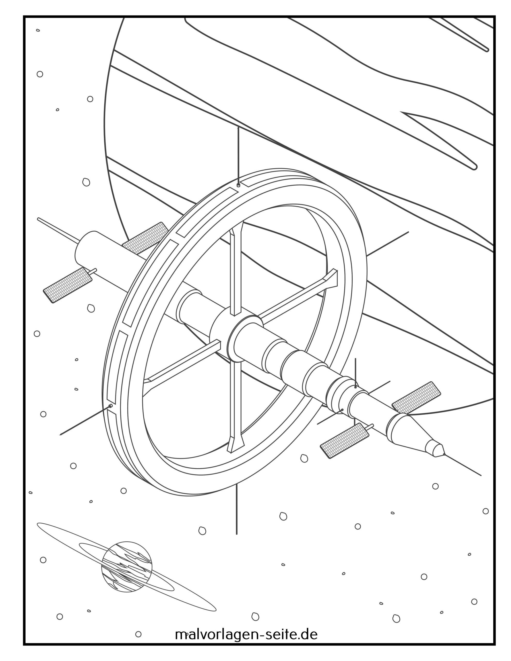 Coloring page space station