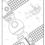 Coloring page astronaut and satellite