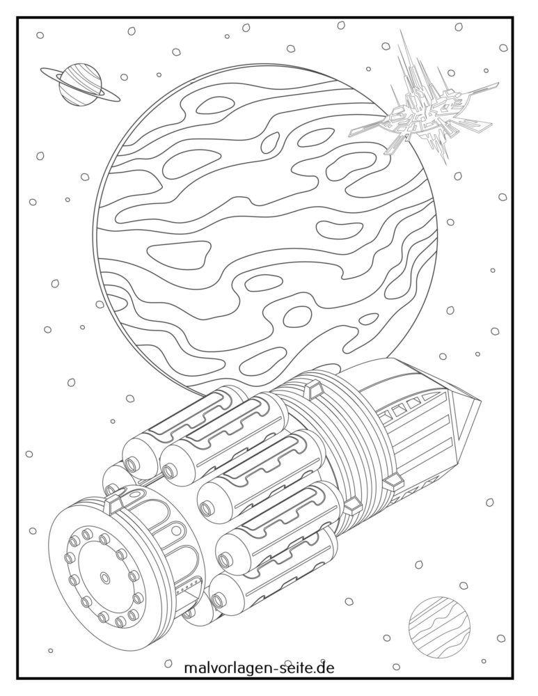 Tegninger til farvelægning rumskib i rummet