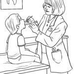 Tegninger til farvelægning kvindelig tandlæge
