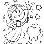 Coloring page tooth fairy - teeth health