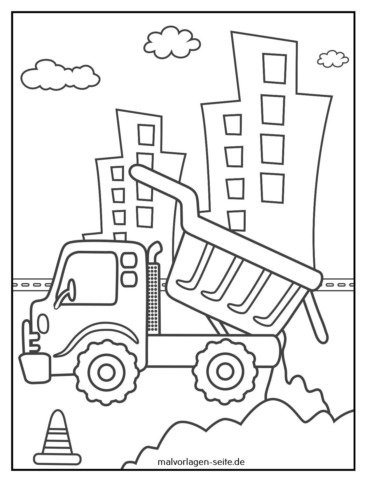 דף צביעה אתר בניית משאיות זבל
