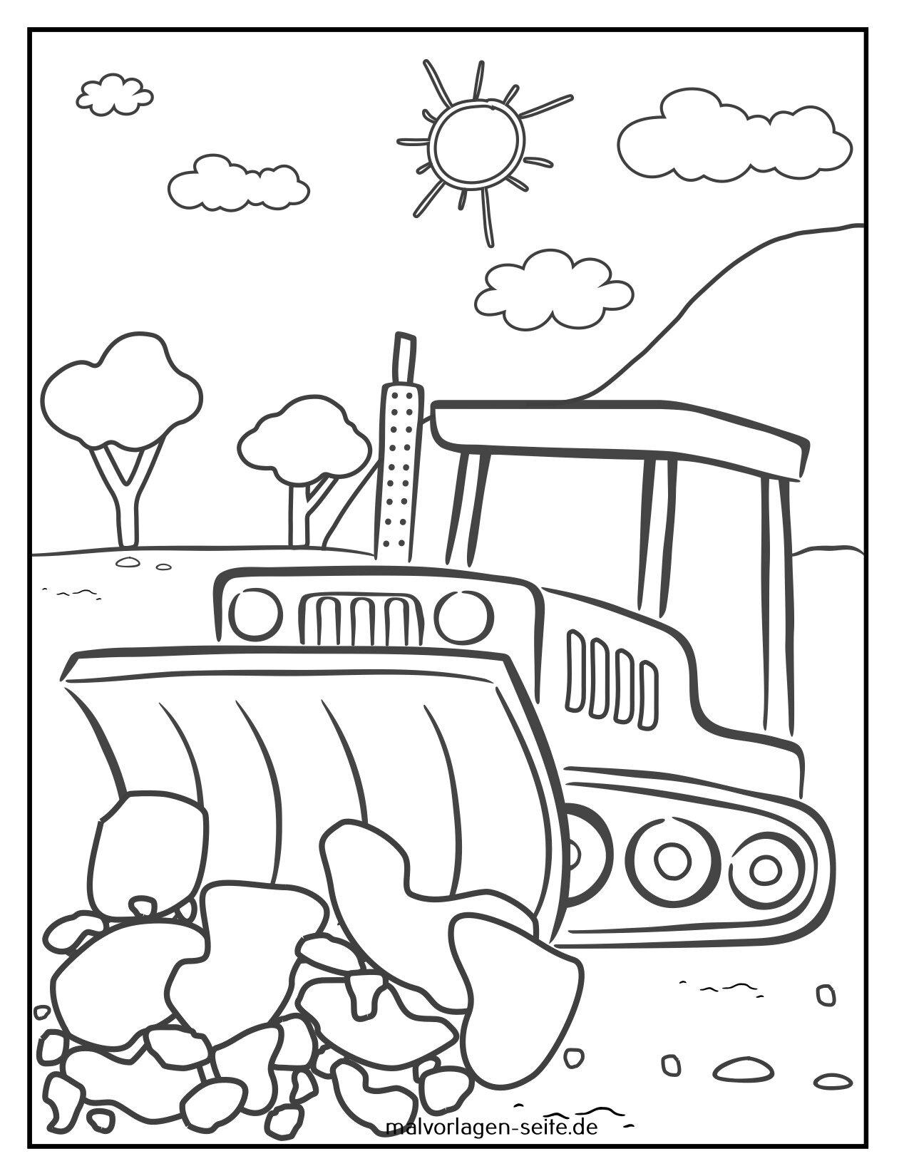 Tolle Malvorlage Planierraupe - Baustellenfahrzeuge - Kostenlose