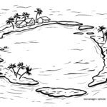 Coloriage atoll - mer / paysage