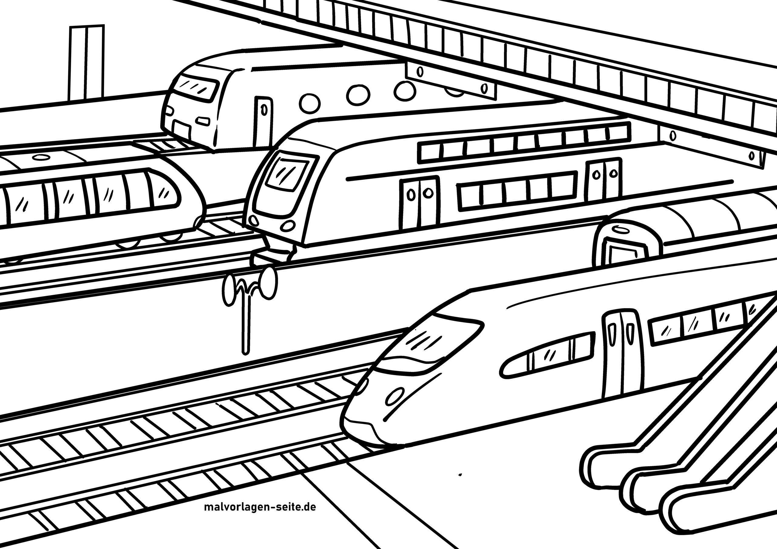 Pagina di culore di treni in a stazione