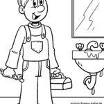 Dibujo para colorear fontanero - obra de mantenimiento
