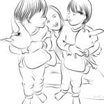 Coloring page children with mother