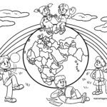 Coloring page children of the earth