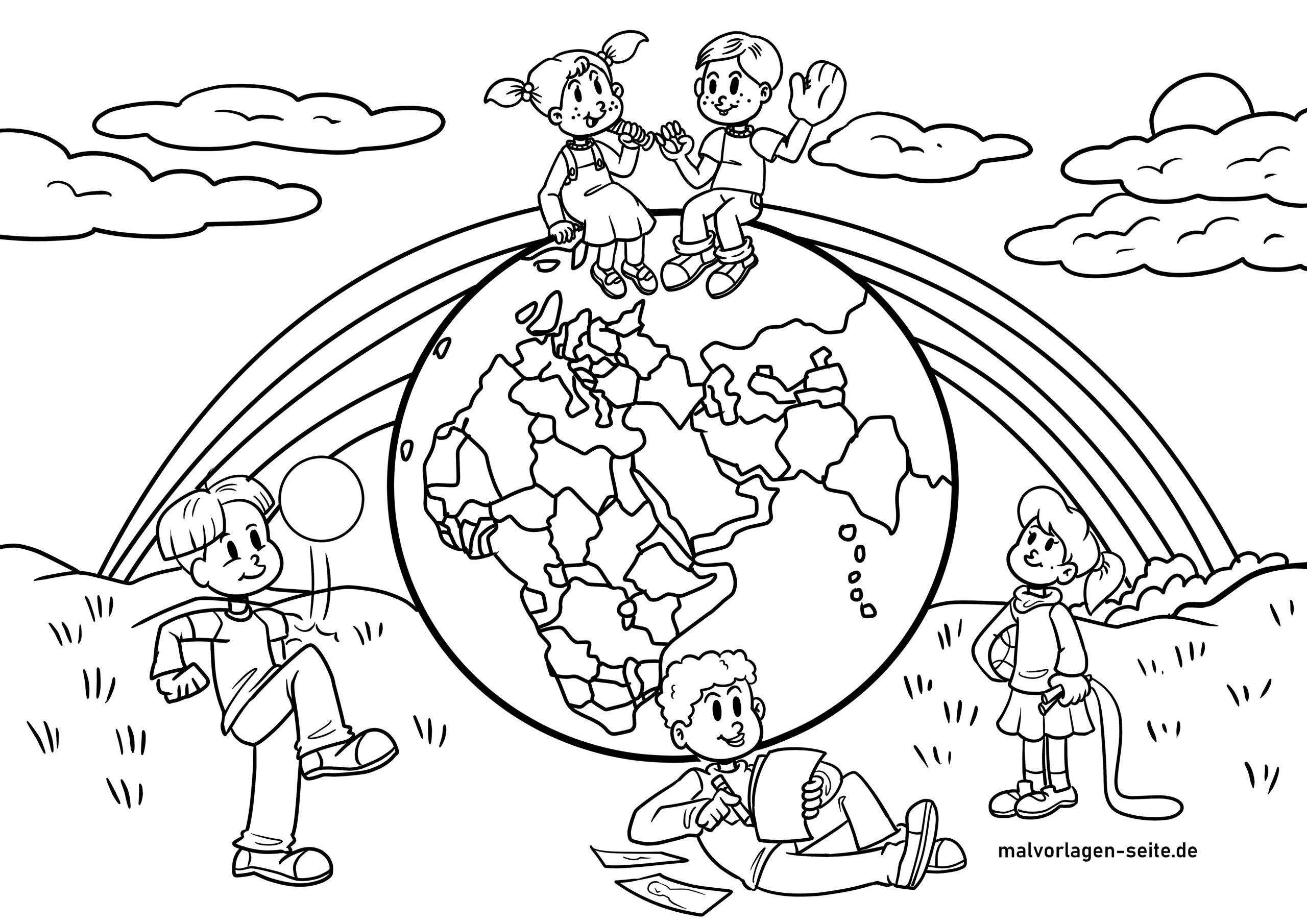 Dibujo para colorear niños de la tierra