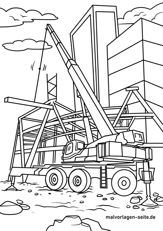 Tolle Malvorlage Kran - Baustelle - Kostenlose Ausmalbilder