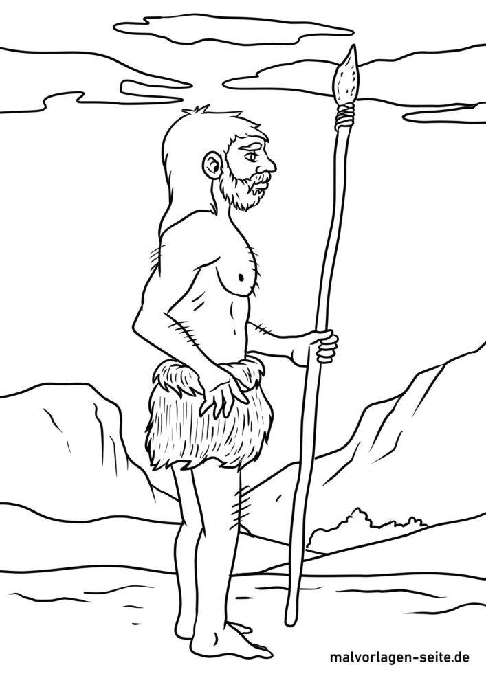 Faciens fuco colorem pagina Neanderthals / Stone Age hominem