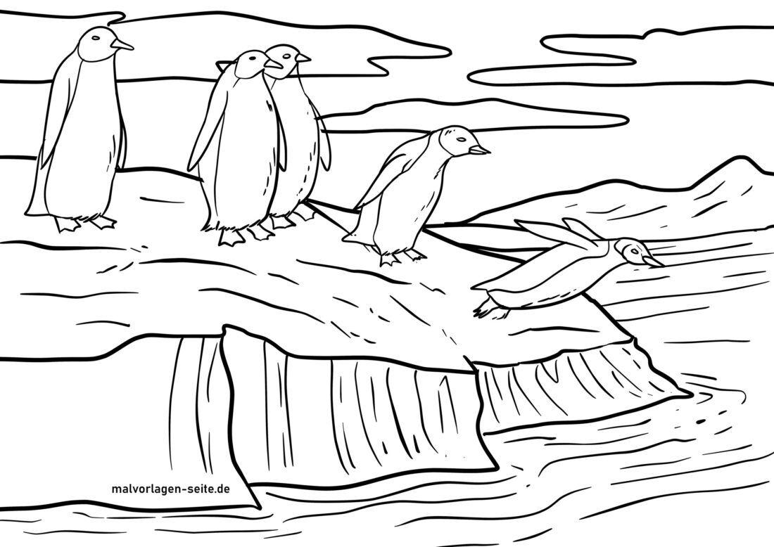 Pagina di culore di i pinguini nantu à un ghjacciu