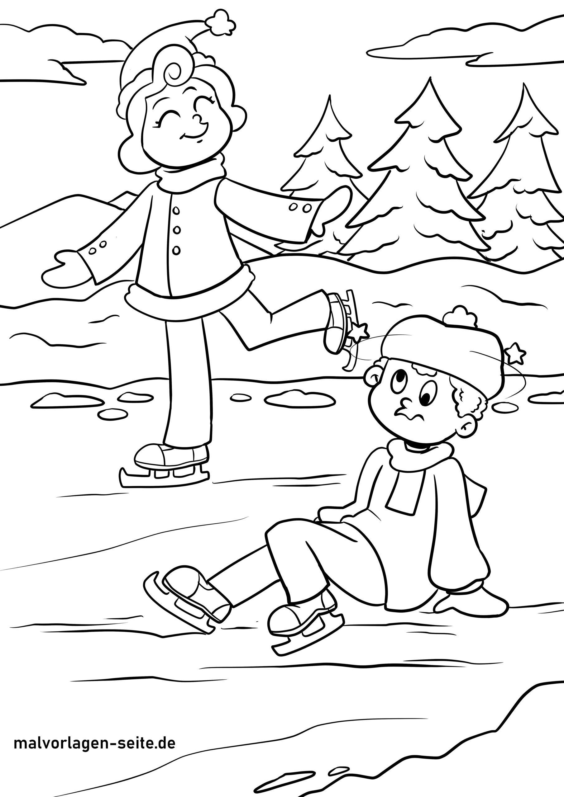 Malvorlage Schlittschuh fahren - Wintersport - Kostenlose Ausmalbilder