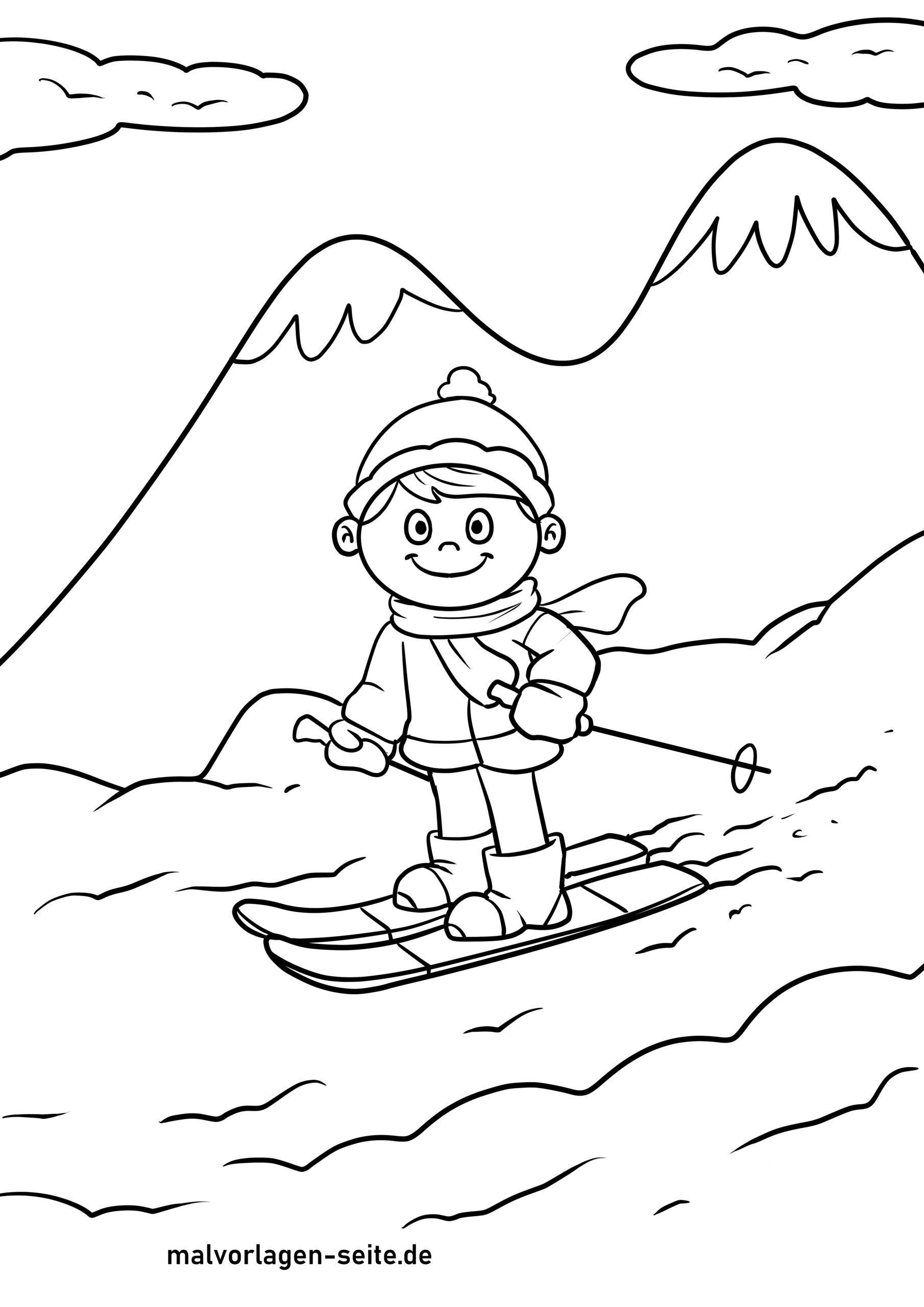 Halaman mewarnai ski