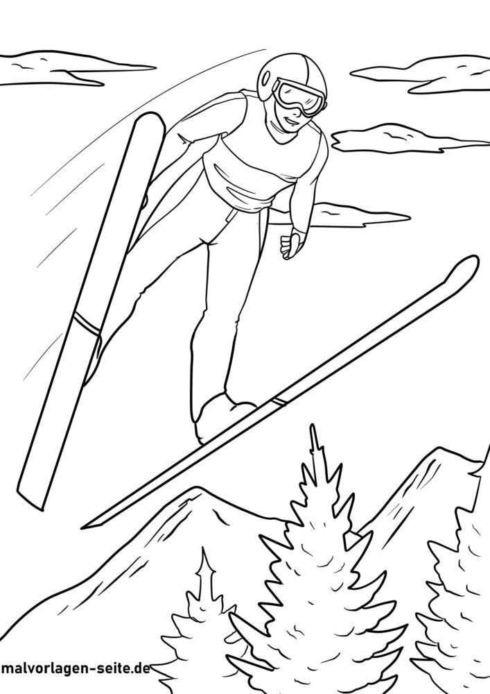 Malvorlage Skispringen