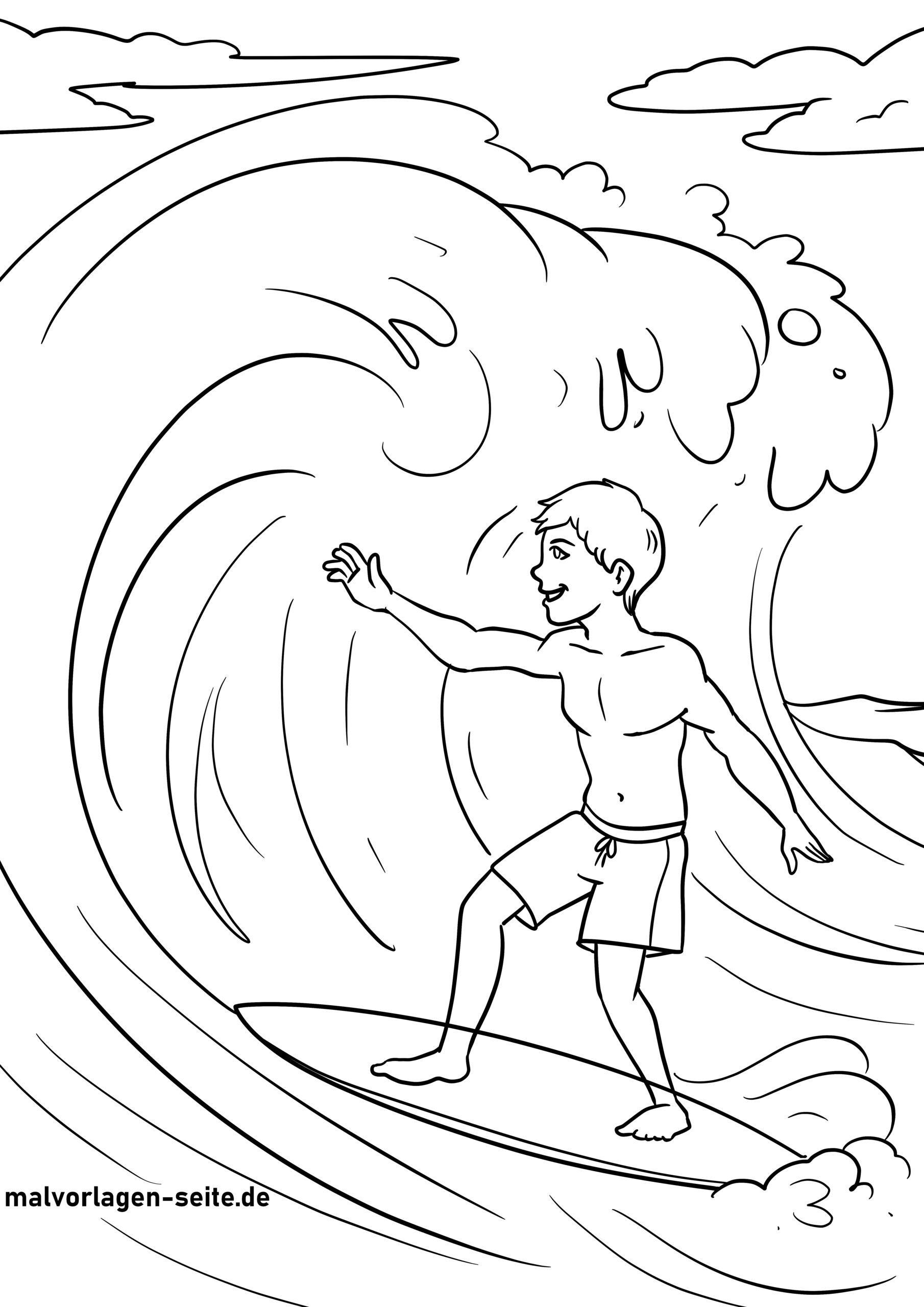 Surfing faciens fuco colorem page