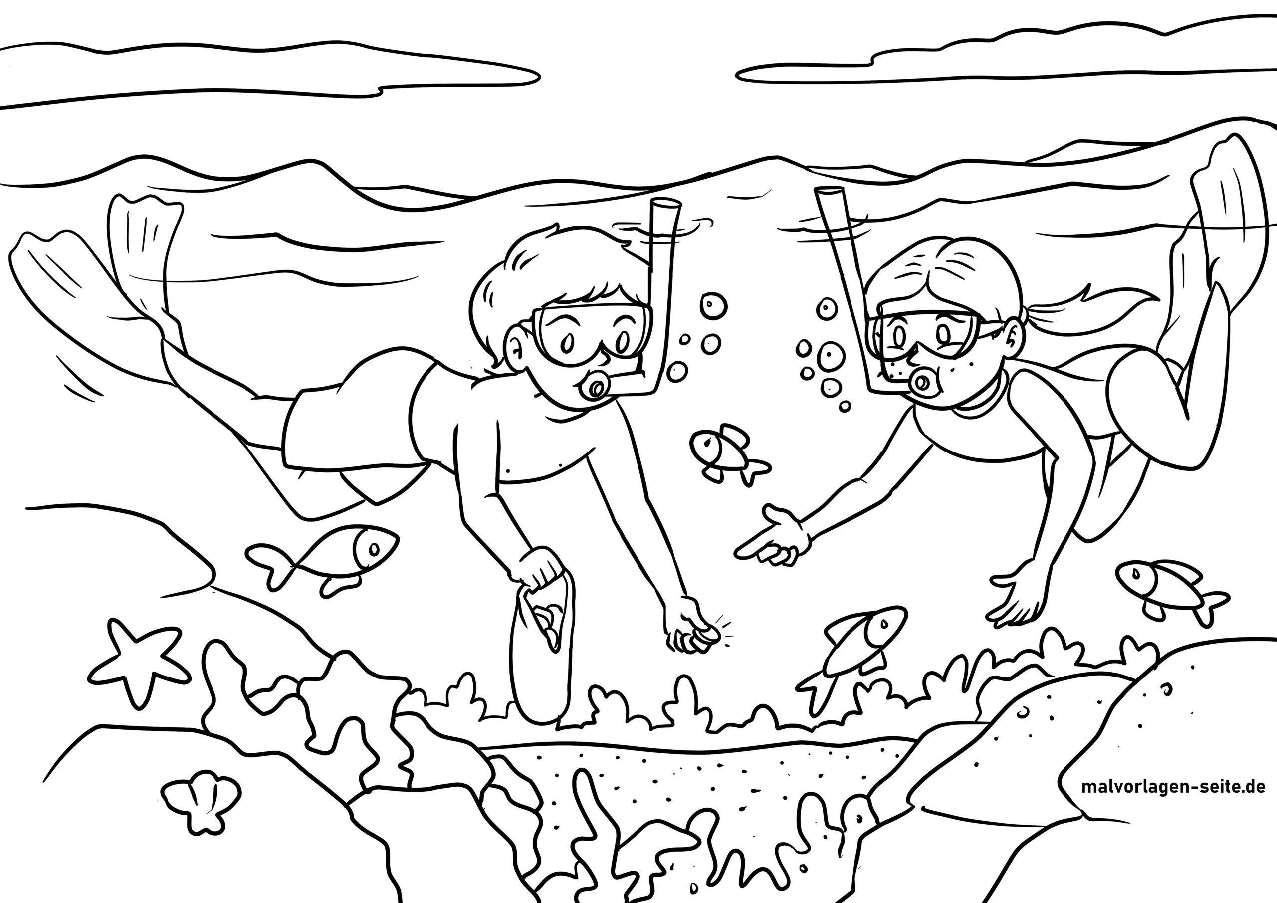 საღებარი გვერდი snorkeling ზღვაში