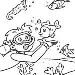 Coloring page diving - water sports