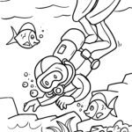 Coloring page diving - leisure water sports