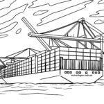Malvorlage Ladekräne Containerschiff