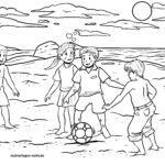 Páxina para colorear xogando ao fútbol na praia