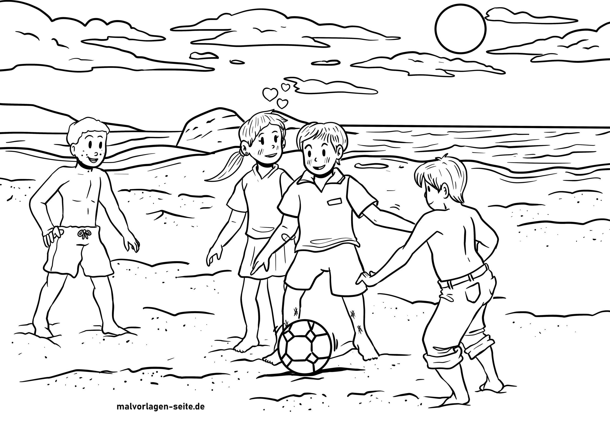 Malvorlage Fußball Spielen Am Strand - Kostenlose Ausmalbilder