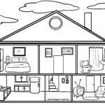 Páxina para colorear casa de bonecas