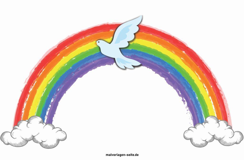 Красочная радуга с голубем - мир