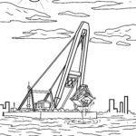 Malvorlage Schiff mit Kran