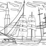 Malvorlage Segelschiff im Hafen