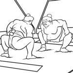 Páxina para colorear loitador de sumo
