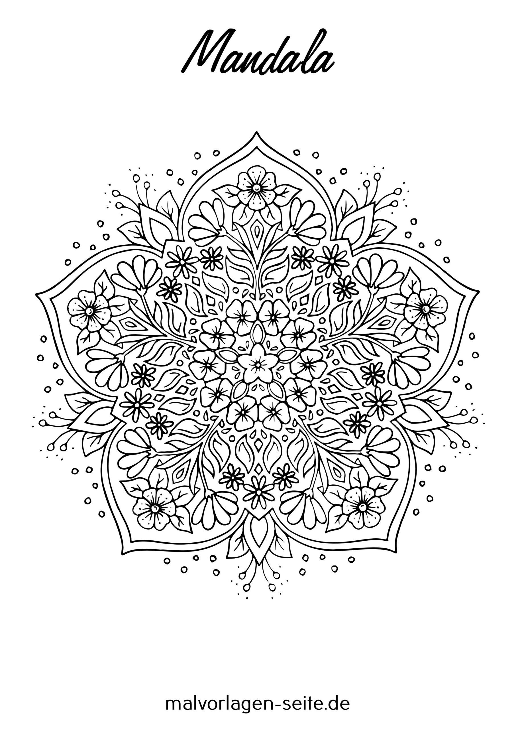 Tolle Mandala Erwachsene - Blumenmandala - Kostenlose Ausmalbilder